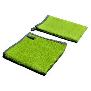 Ensemble serviette et gant de toilette coton bio anis