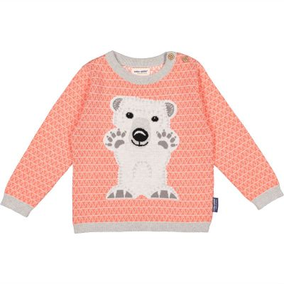 Pull 100% coton bio, rose avec un motif ours polaire