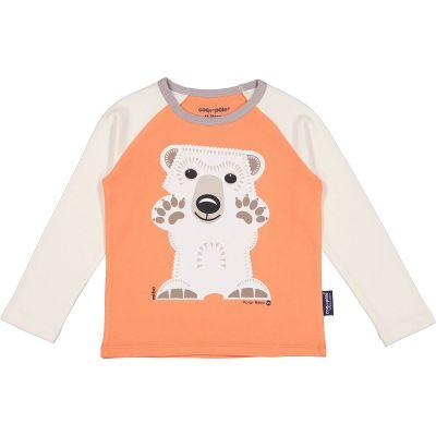 T-shirt rose manches longues raglan, coton bio ours polaire