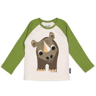 T-shirt vert manches longues raglan, coton bio rhinocéros