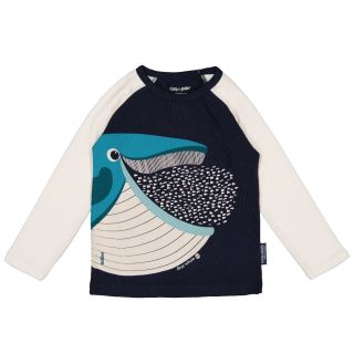 T-shirt bleu manches longues raglan, coton bio baleine
