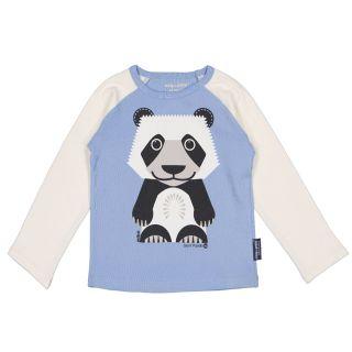 T-shirt bleu manches longues raglan, coton bio panda