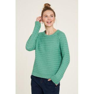Pull tricoté vert couleur sauge coton bio