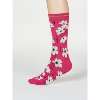 Chaussettes bambou et coton bio roses motif fleurs