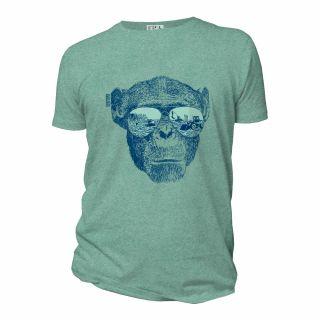 Tee-shirt vert chiné coton bio imprimé Homo Eradicus