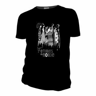Tee-shirt noir Femmes du monde, composé de coton bio