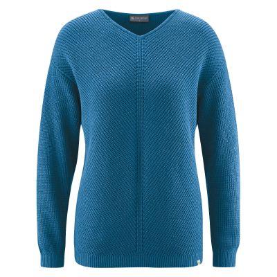 Pull bleu mer chanvre et coton bio col V indémodable