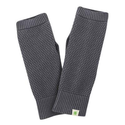 Gants anthracite tricotés chanvre et coton bio