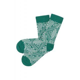 Chaussettes tricotées coton bio vertes
