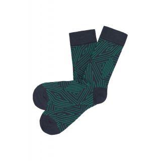 Chaussettes tricotées formes géométriques coton bio vertes et bleues marine