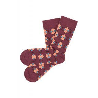 Chaussettes colorées et originales couleur rhubarbe en coton bio