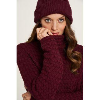 Pull couleur rhubarbe col montant pour femme coton biologique
