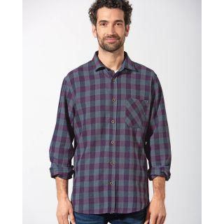 Chemise homme manches longues à carreaux coton bio chanvre