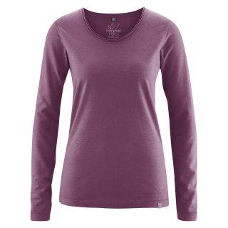 Haut femme couleur violet purple coton bio et chanvre Lene