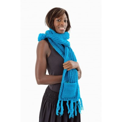 Écharpe moufle turquoise