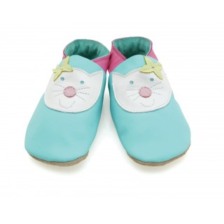 Chaussons cuir souple Happy cat turquoise Starchild