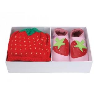 Set cadeau chaussons fraise et bonnet