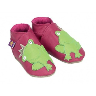 Chaussons cuir souple rose fushia Grenouille