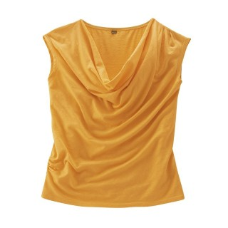 Top drapé orange chanvre coton bio Sissy