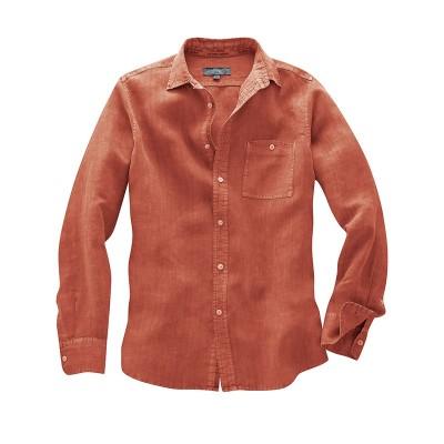 Chemise chanvre Mitch couleur orange sanguine rosehi