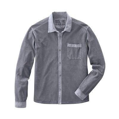 Chemise manches longues mode éthique homme en chanvre pur et coton bio bleu graphite