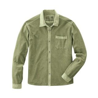 Chemise manches longues homme en chanvre pur et coton bio vert laurier