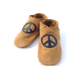 Chaussons cuir souple sable Peace and love