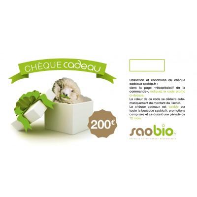 Chèque cadeau 200 Euros