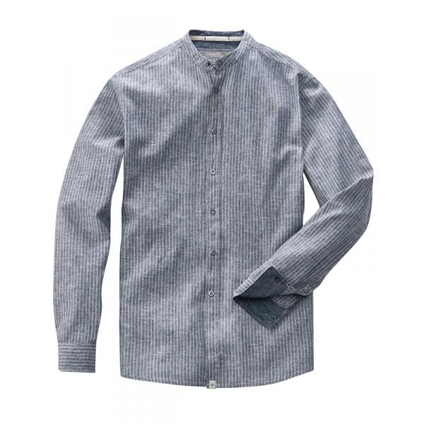Chemise grise à col grand père manches longues coton bio et chanvre ... f68872f69e6