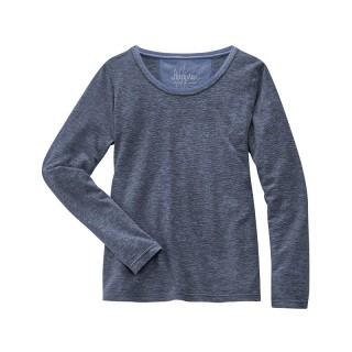 tee-shirt manches longues femme coton bio chanvre nuances bleues