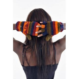 Gants mitaines multicolores bleu foncé orange-bordeaux-kaki