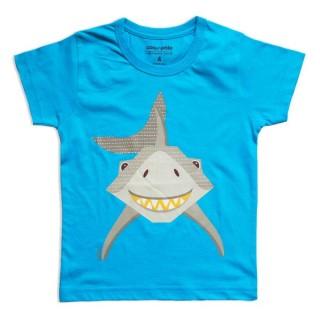 T-shirt coton bio bleu Requin