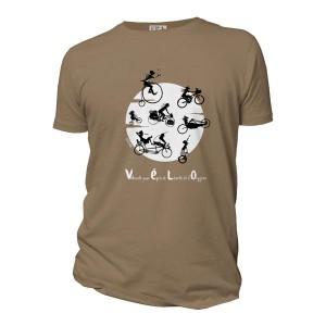 T-shirt marron noisette Vélo-vole, marque Quat'rues