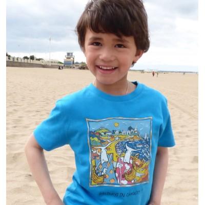 Tee-shirt bio bleu azur Holidays in Chausey