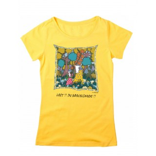 Tee-shirt femme jaune Lost in Brocéliande