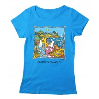 Tee-shirt femme bleu azur îles Chausey