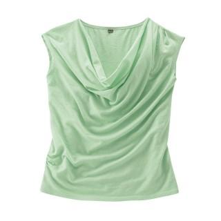 Top drapé vert pistache coton bio chanvre Sissy