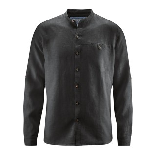 Chemise col mao chanvre homme noir
