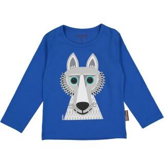 T-shirt bleu loup coton bio manches longues