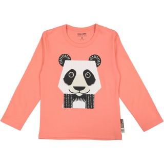 Recto t-shirt rose Panda Manches longues en coton bio et équitable