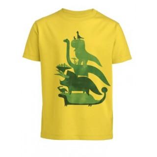 T-shirt dinosaures jaune coton bio