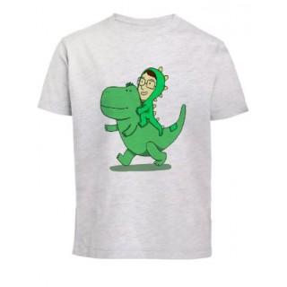 T-shirt dinosaures gris chiné coton bio