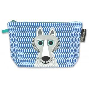 Trousse bleue coton bio loup