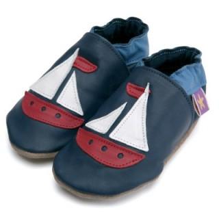 Chaussons cuir souple bleu marine Bateau Voilier rouge