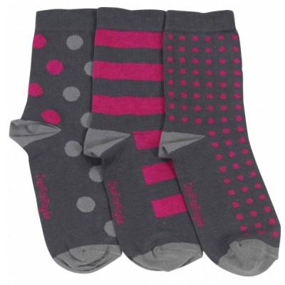 Chaussettes grises femme pois roses