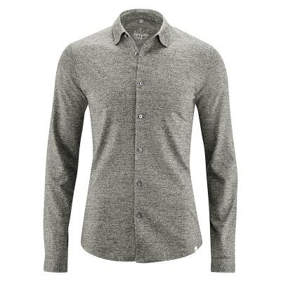 Chemise manches longues jersey coton bio chanvre mélange gris noir