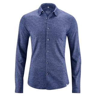Chemise bleues manches longues pour homme jersey coton bio chanvre bleu