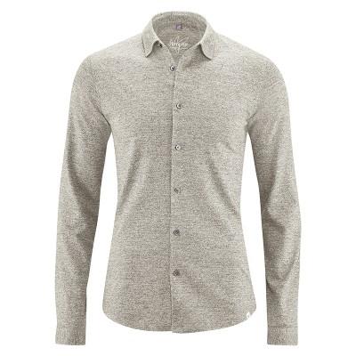 Chemise manches longues jersey coton bio chanvre marron clair mud