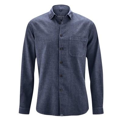 Chemise homme chanvre coton bio à petits carreaux bleu wintersky