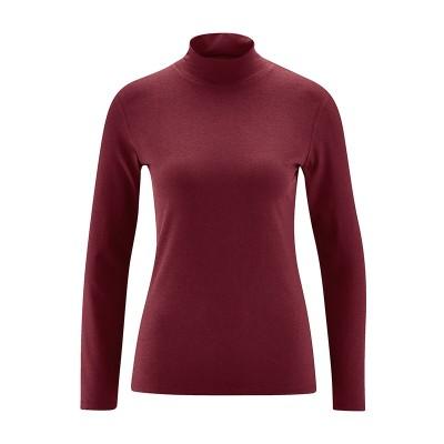 Tee-shirt col montant bordeaux coton bio chanvre